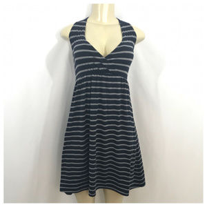 Blue & Gray Stripe Sleeveless Maternity Dress Med